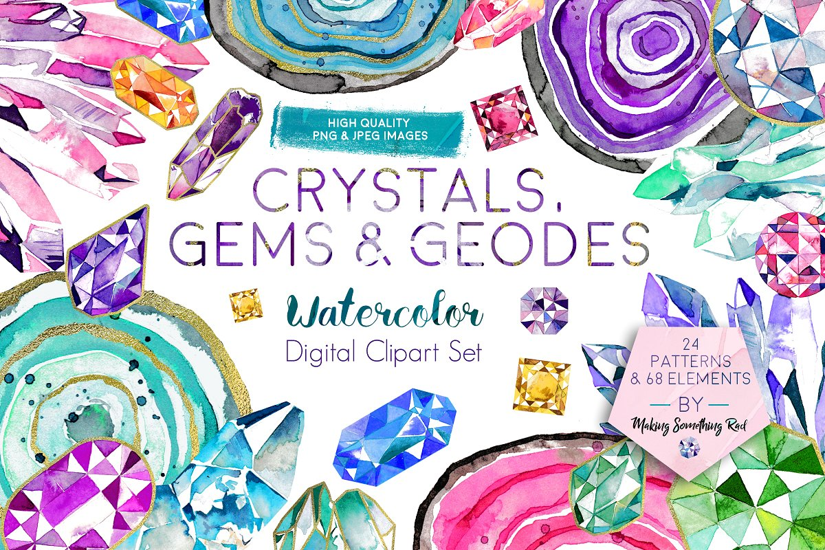 Clipart geodes clip black and white download Crystals, Gems & Geodes Clipart Set ~ Illustrations ~ Creative Market clip black and white download