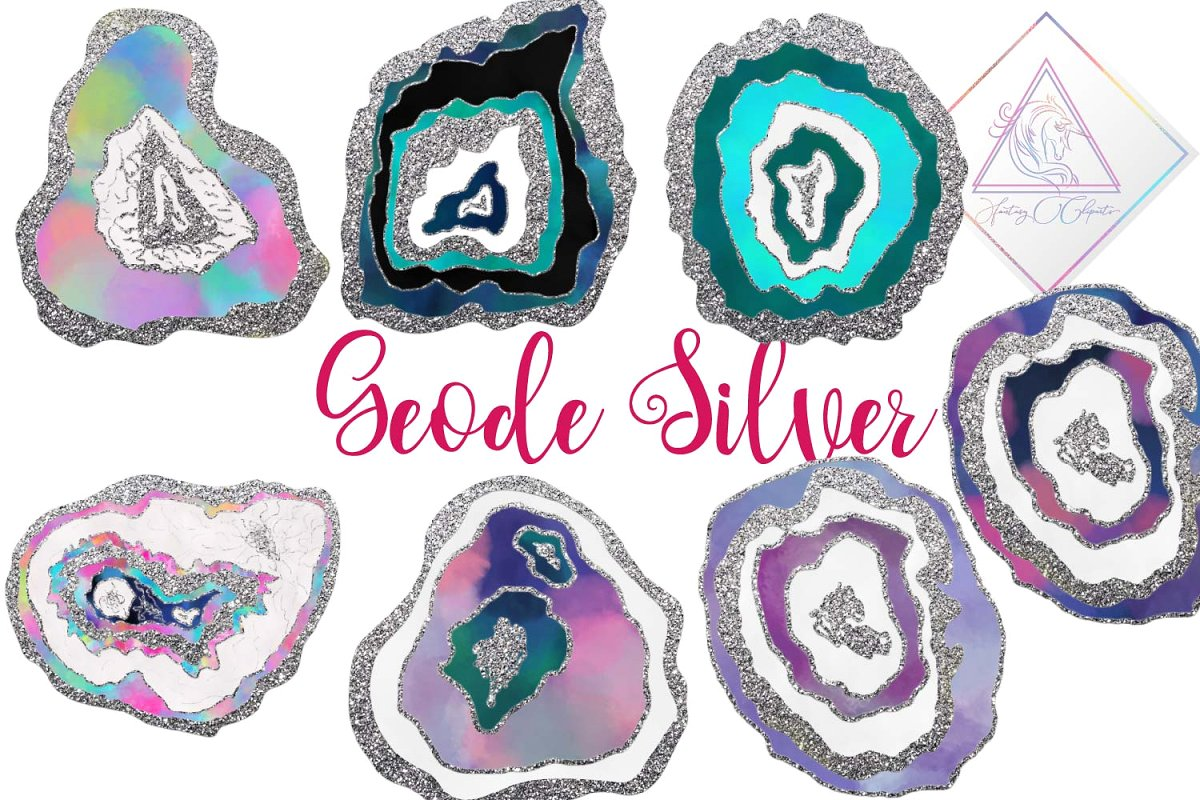 Clipart geodes clip Geode Silver Clipart clip