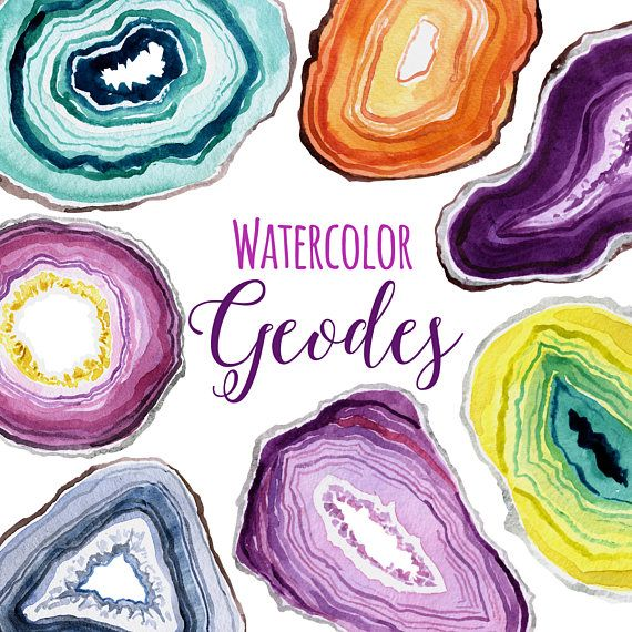 Clipart geodes image freeuse download Watercolor Geodes, Geode Clip Art, Gemstone Slices Clipart, New age ... image freeuse download