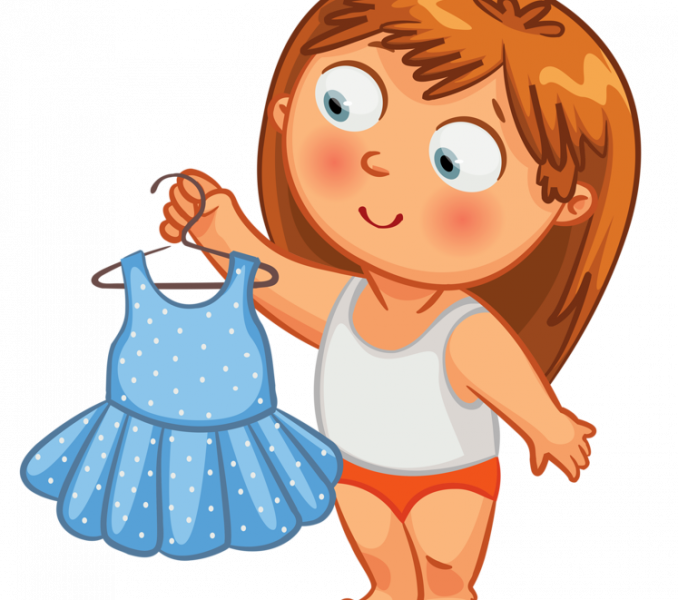 Getting dressed for school clipart