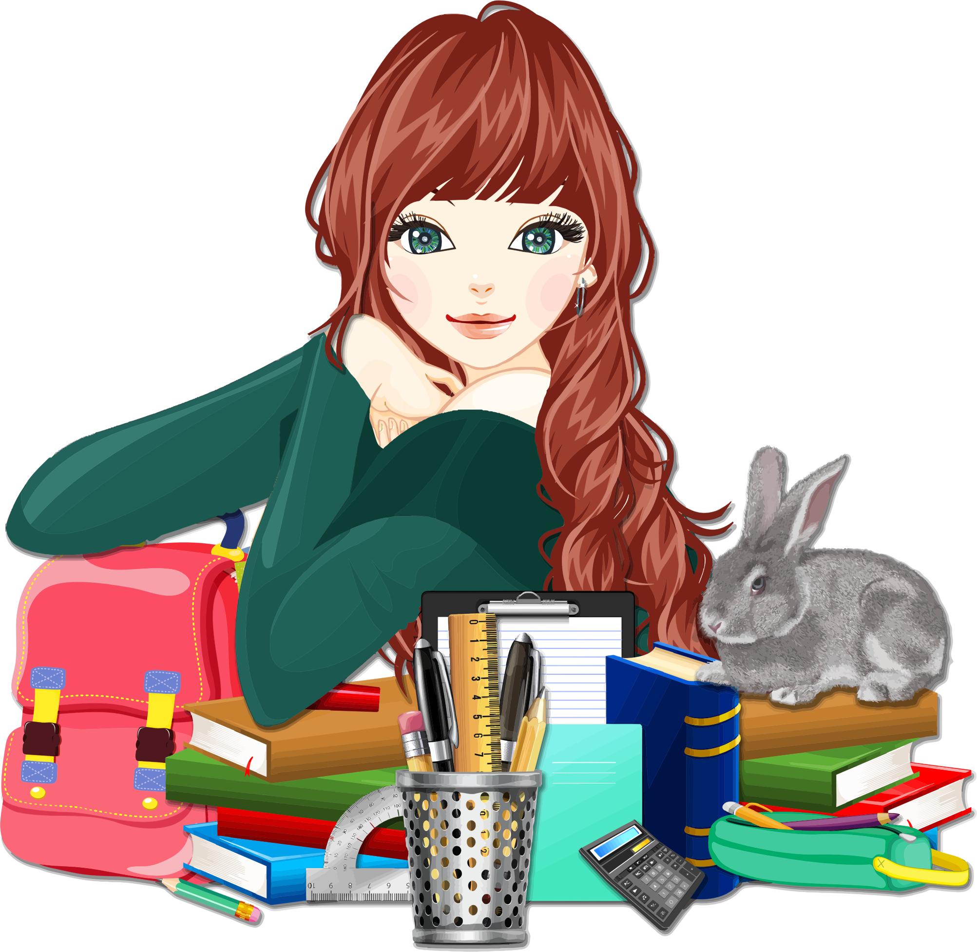 Girl going to school clipart image transparent stock Clipart - School Girl With Rabbit 2 image transparent stock