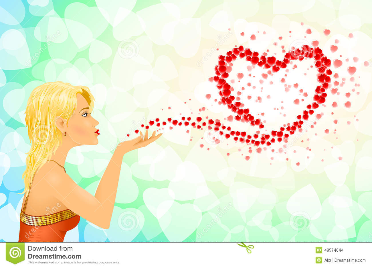 Clipart girl blowing hearts valentine vector free library Girl Heart Sign Love Messages Stock Vector - Image: 48574044 vector free library
