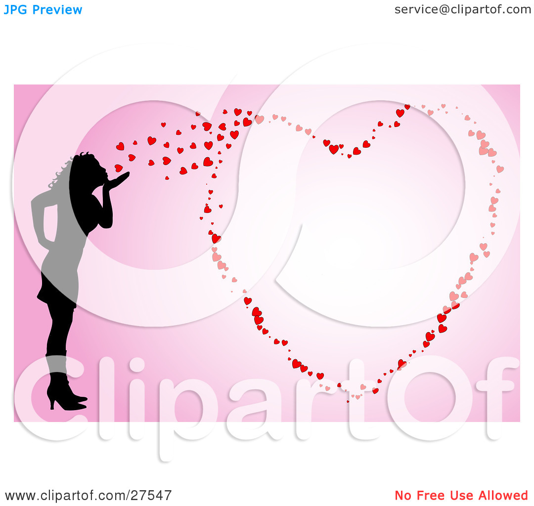 Clipart girl blowing hearts valentine image transparent Clipart Illustration of a Silhouetted Woman Blowing Kisses That ... image transparent