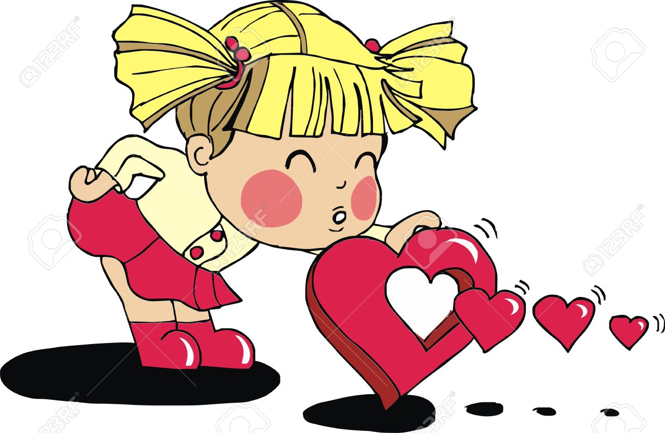 Clipart girl blowing hearts valentine graphic free Valentine Baby Girl Royalty Free Cliparts, Vectors, And Stock ... graphic free