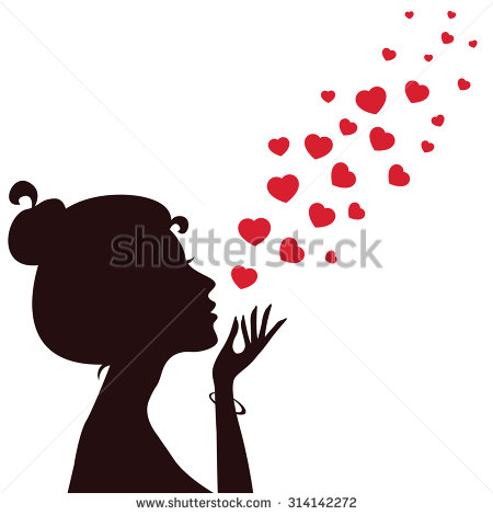 Clipart girl blowing hearts valentine vector transparent download Kissing Silhouette Stock Images, Royalty-Free Images & Vectors ... vector transparent download
