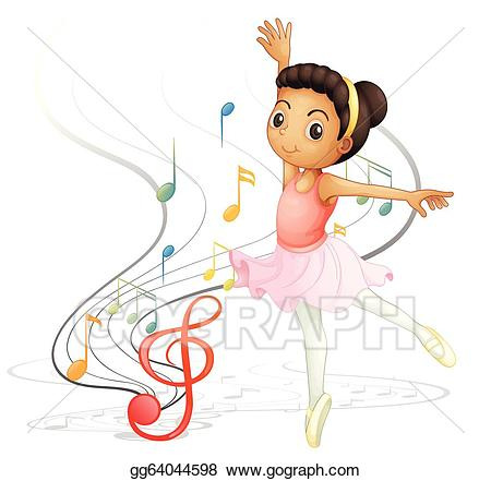 Clipart girl dancing vector freeuse Vector Stock - A girl dancing with musical notes. Clipart ... vector freeuse