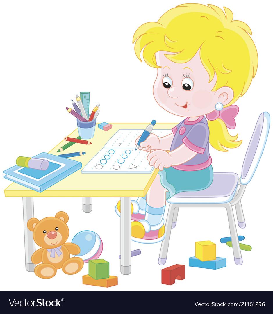 Clipart girl doing homework clip art black and white stock Girl doing homework after her game with toys clip art black and white stock