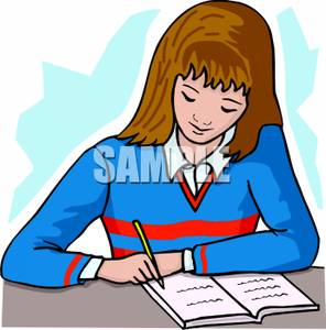 Clipart girl doing homework svg library download Girl Doing School Homework - Royalty Free Clipart Picture svg library download