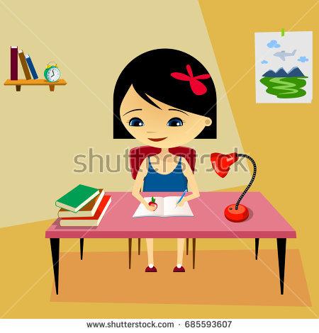 Clipart girl doing homework jpg library stock Girl doing homework clipart 8 » Clipart Station jpg library stock