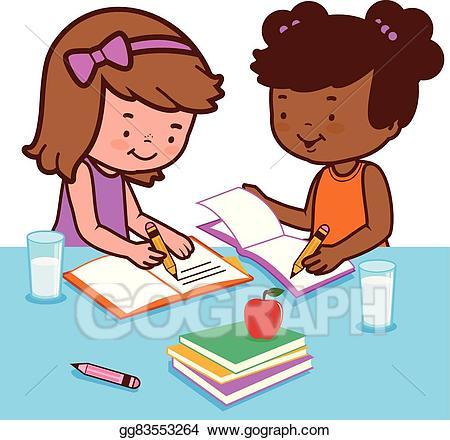Clipart girl doing homework banner royalty free library Vector Stock - Students doing homework. Stock Clip Art gg83553264 ... banner royalty free library