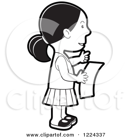 Clipart girl facing left jpg black and white Royalty Free Kid Illustrations by Lal Perera Page 2 jpg black and white