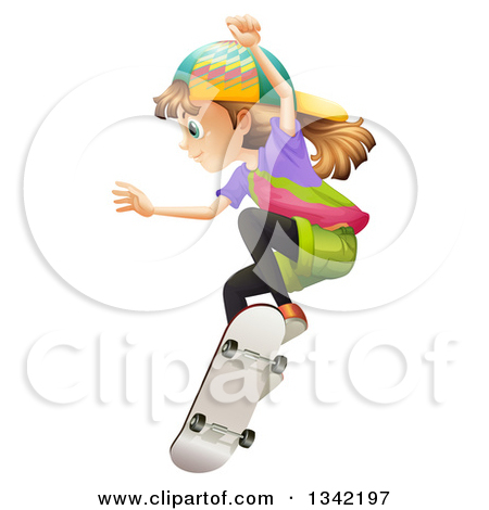 Clipart girl facing left image transparent library Clipart of a Dirty Blond White Girl Jumping on a Skateboard ... image transparent library