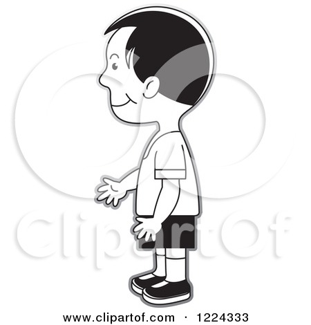 Clipart girl facing left vector library Clipart of a Grayscale Boy Facing Left - Royalty Free Vector ... vector library