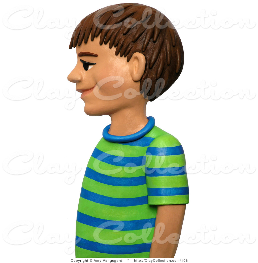Clipart girl facing left clip transparent Clay Illustration of a 3d Boy in Profile, Facing Left by Amy ... clip transparent