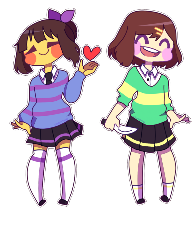 Clipart girl going to school image royalty free library Frisk and Chara School girls ~ by SoupofFlies on DeviantArt image royalty free library