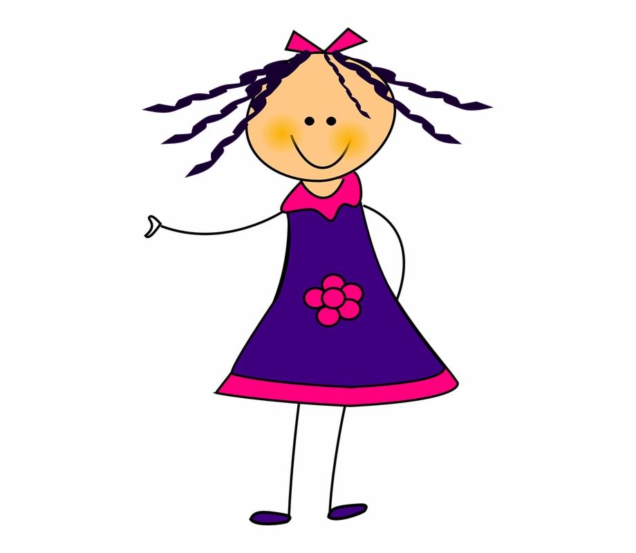 Clipart girl in dress clip transparent Girl, Dress, Ribon, Flower, Smile, Purple, Pink - Clipart Girl In ... clip transparent