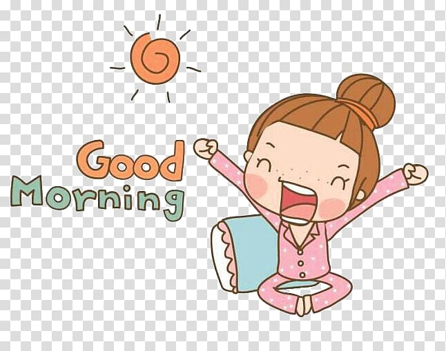 Clipart girl text vector transparent Girl waking up with good morning text overlay illustration ... vector transparent