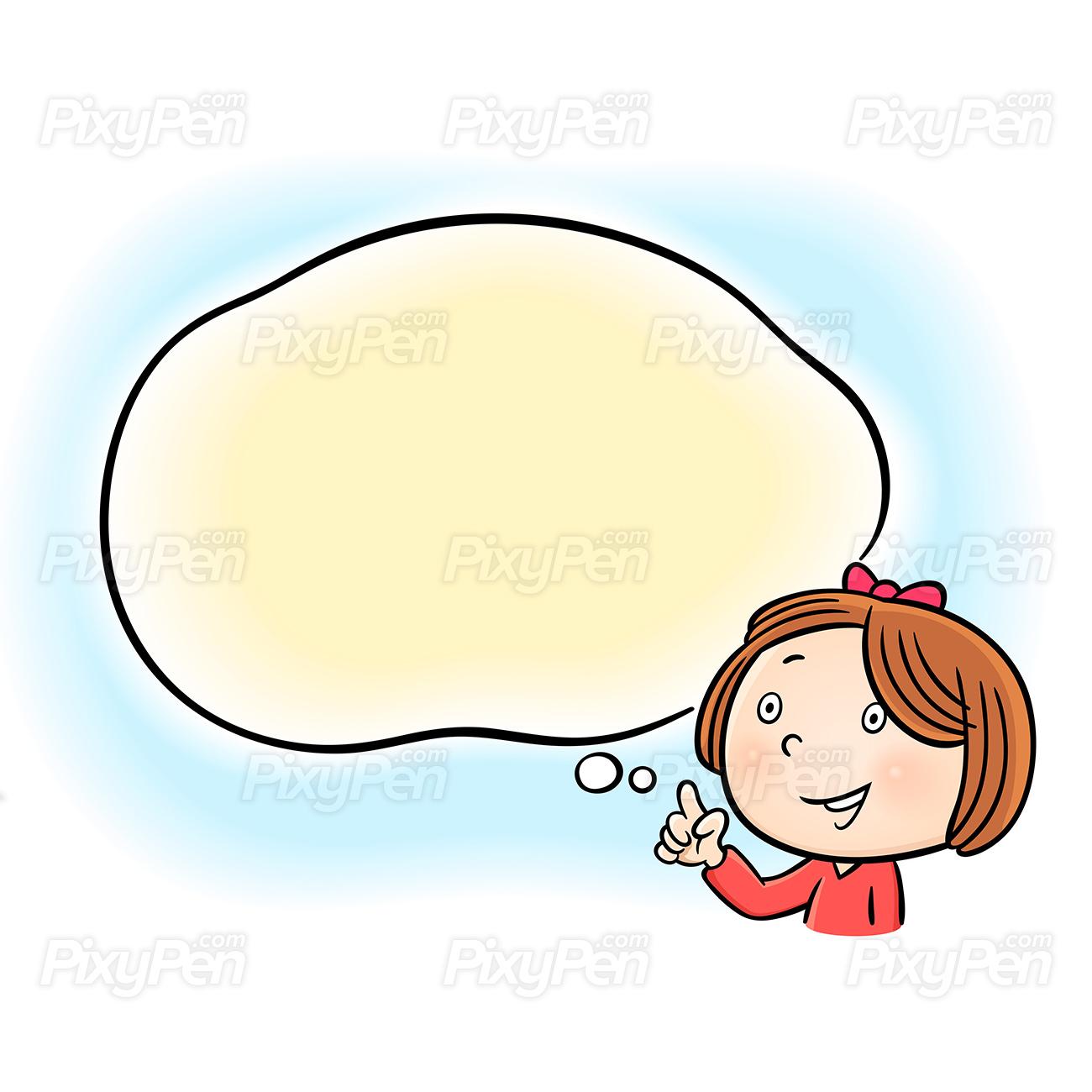Clipart girl text vector stock Happy little girl pointing speech bubble - Vector Illustration vector stock