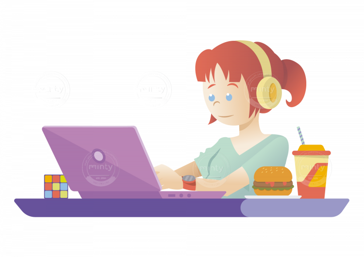 Clipart girl with book to music picture stock A freelance girl working on her computer drinking juice eating ... picture stock