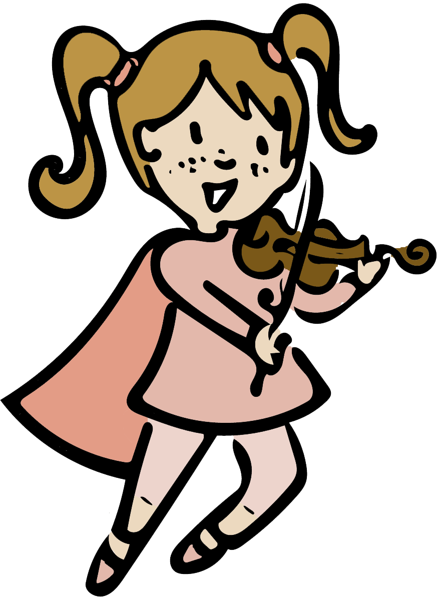 Clipart girl with book to music vector freeuse download Super Strings | A Violin Method Book For Kids vector freeuse download
