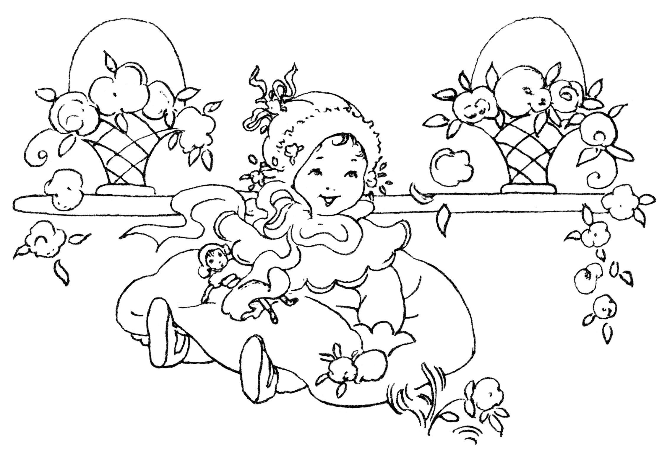 Clipart girls playing in snow black and white picture royalty free Happy Baby Girl ~ Free Vintage Clip Art - Old Design Shop Blog picture royalty free