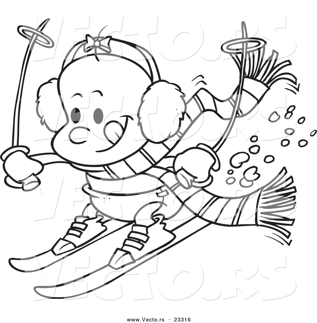 Clipart girls playing in snow black and white image black and white download Cartoon Vector of Cartoon Baby Girl Skiing - Coloring Page Outline ... image black and white download