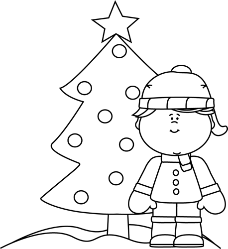 Clipart girls playing in snow black and white svg free stock Black and White Girl and Christmas Tree in the Snow Clip Art - Black ... svg free stock