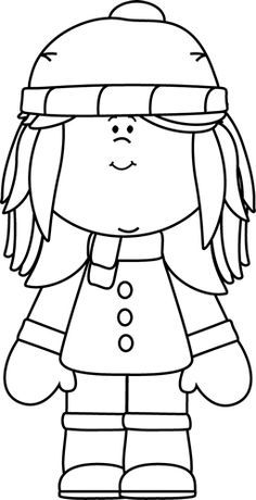 Clipart girls playing in snow black and white transparent stock Winter Clothes Clip Art Black and White | Christmas and Winter Ideas ... transparent stock