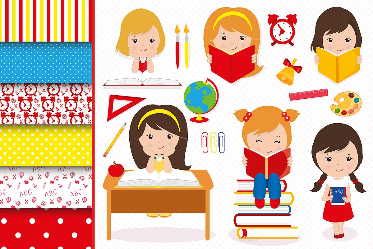 Clipart girls with a lot of school papers image transparent stock Hello school graphics, School digital papers image transparent stock