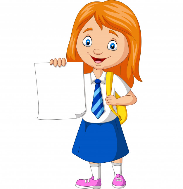 Clipart girls with a lot of school papers banner Cartoon school girl in uniform holding blank paper Vector | Premium ... banner