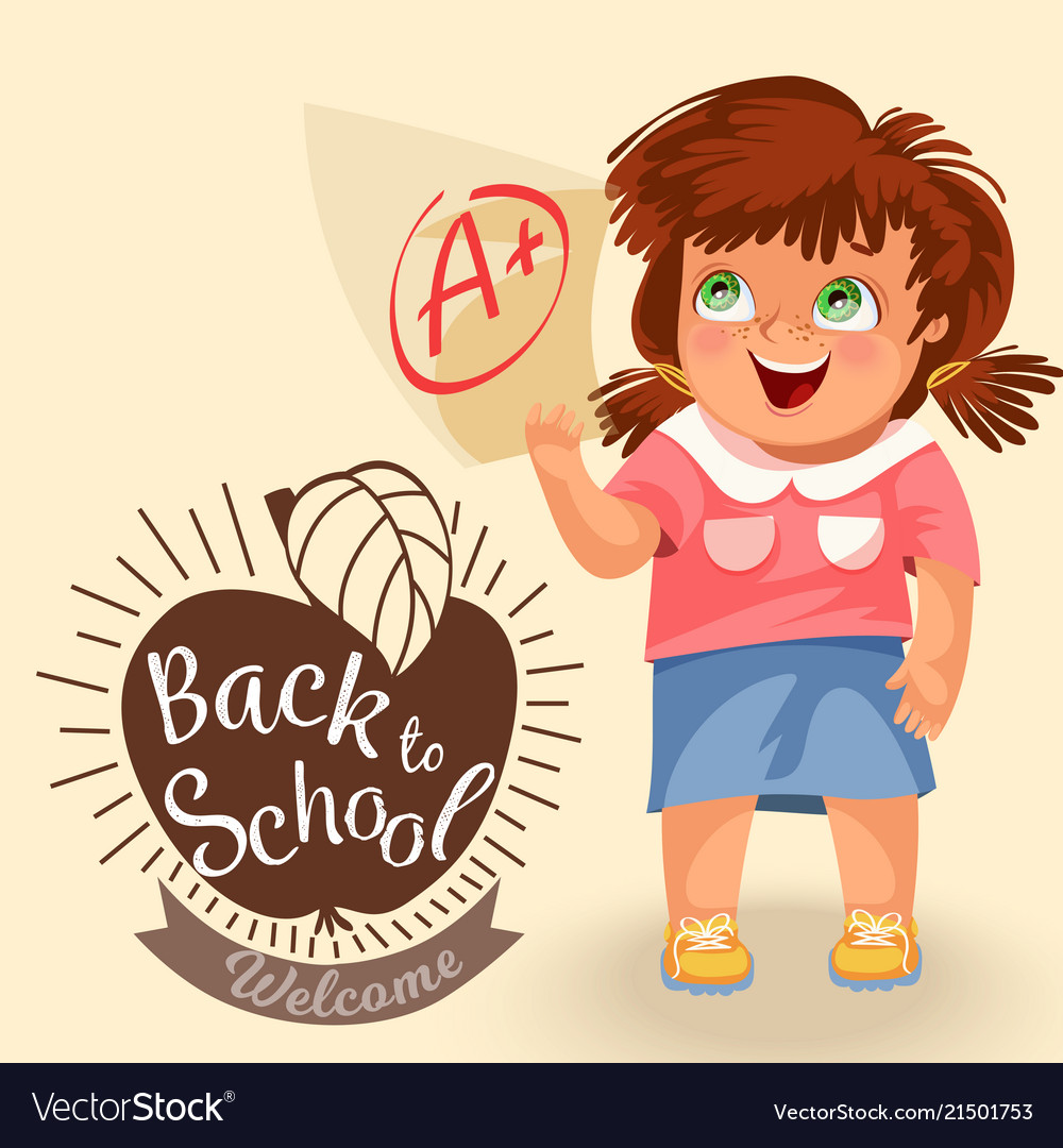 Clipart girls with a lot of school papers banner free stock Smiling girl with test paper mark banner free stock