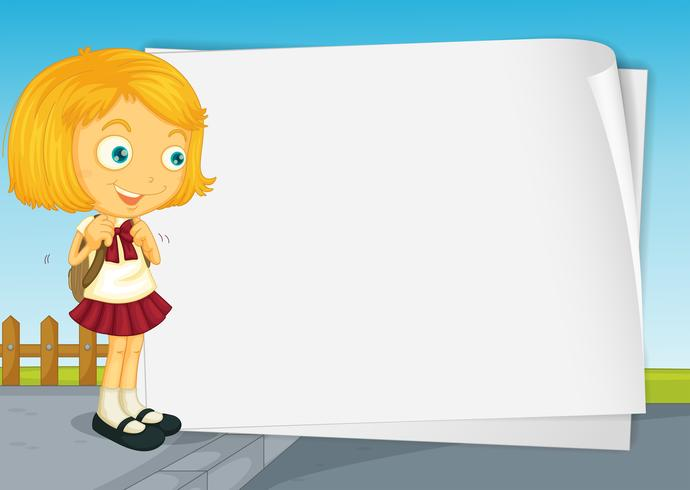 Clipart girls with a lot of school papers vector black and white Border design with girl in school uniform Vector - Download Free ... vector black and white