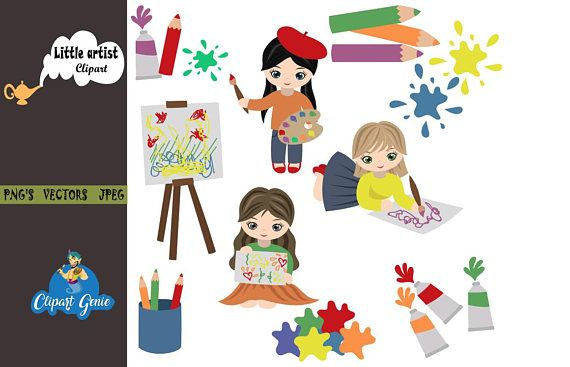 Clipart girls with a lot of school papers clip royalty free stock Little artist, Girl drawing clipart, drawing clipart, school clipart ... clip royalty free stock