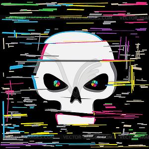 Clipart glitch image black and white White glitch hacker skull - vector clipart image black and white
