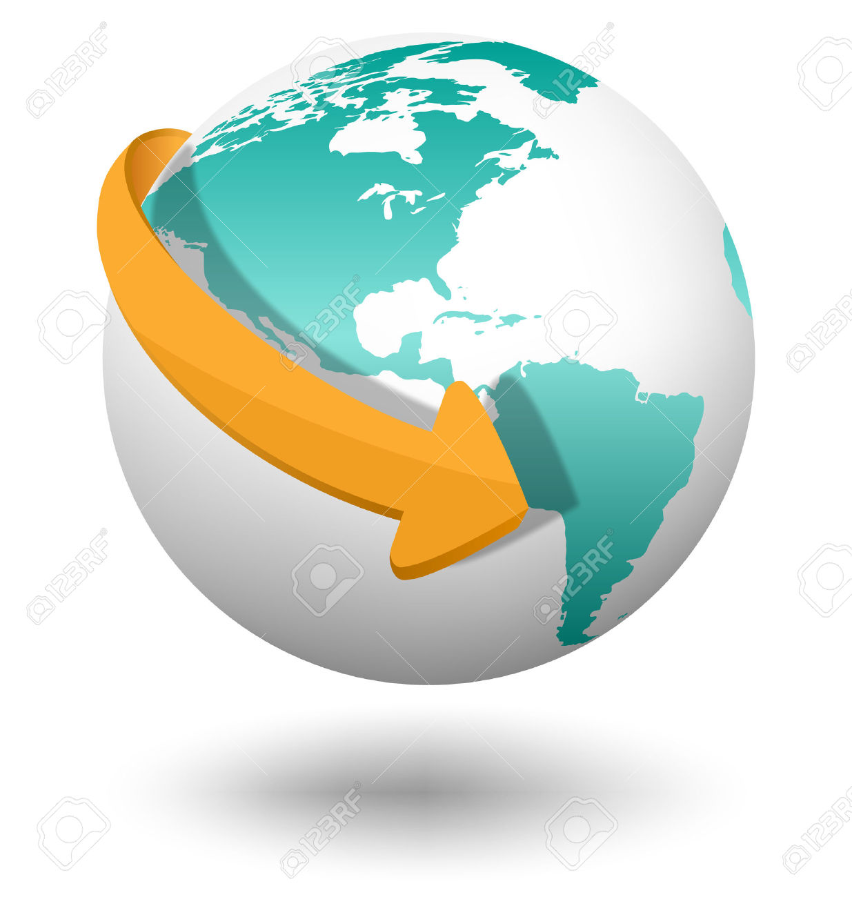 Clipart globe with arrow svg Emblem With White Globe And Orange Arrow Isolated On White ... svg