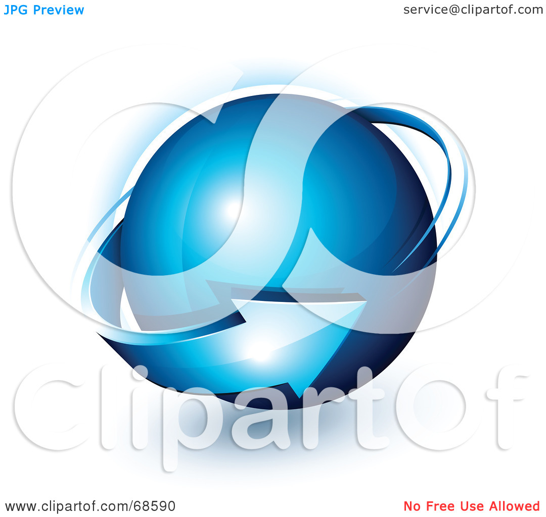 Clipart globe with arrow clipart freeuse library Royalty-Free (RF) Clipart Illustration of a Blue 3d Arrow Circling ... clipart freeuse library
