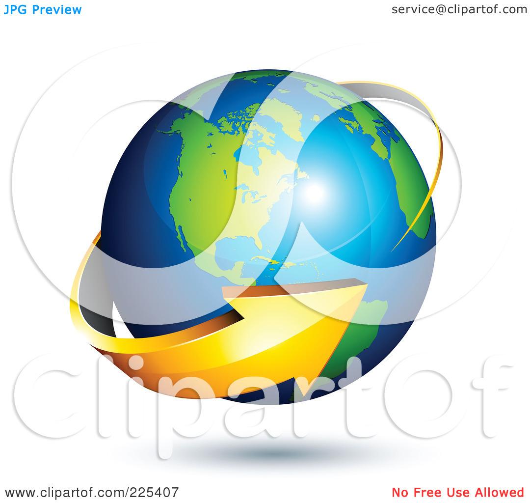 Clipart globe with arrow clip art freeuse Royalty-Free (RF) Clipart Illustration of a 3d Orange Arrow ... clip art freeuse
