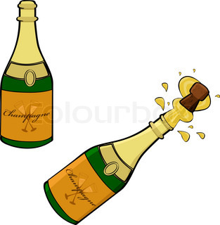 Clipart glser und flaschen clip free stock Champagner-Flasche und zwei Gläser. | Vektorgrafik | Colourbox clip free stock