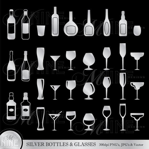 Clipart glser und flaschen picture freeuse download Silber-Flaschen & Gläser Clipart Clip Art Vektor Grafikdatei picture freeuse download