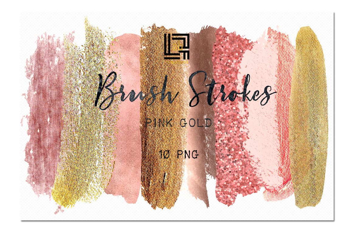 Clipart gold collection jpg freeuse download Pink gold glitter. Brush Strokes Clip Art . Pink gold collection.  Watercolor clipart. Digital Design Resource. Branding. jpg freeuse download