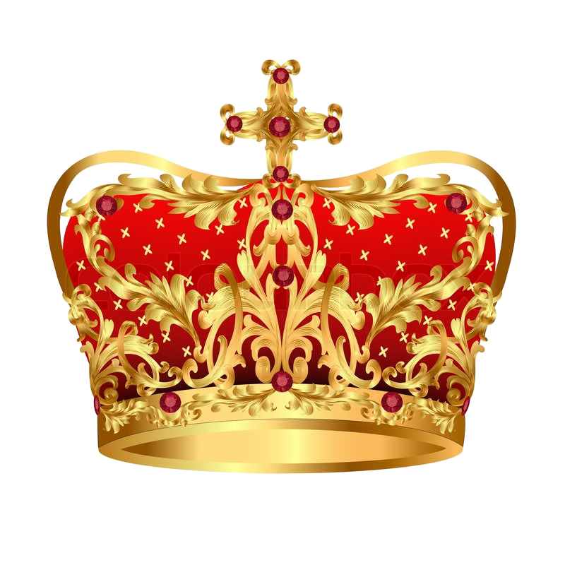 Royal gold with red. Crown clipart purple