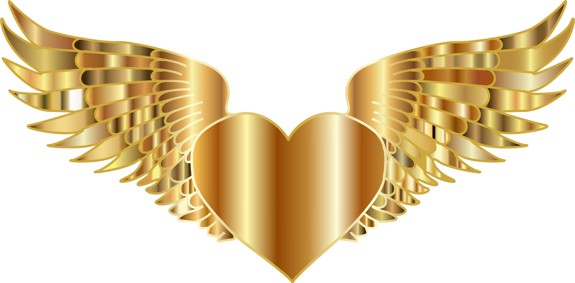 Clipart heart with wings svg freeuse stock Clipart - Golden Flying Heart svg freeuse stock