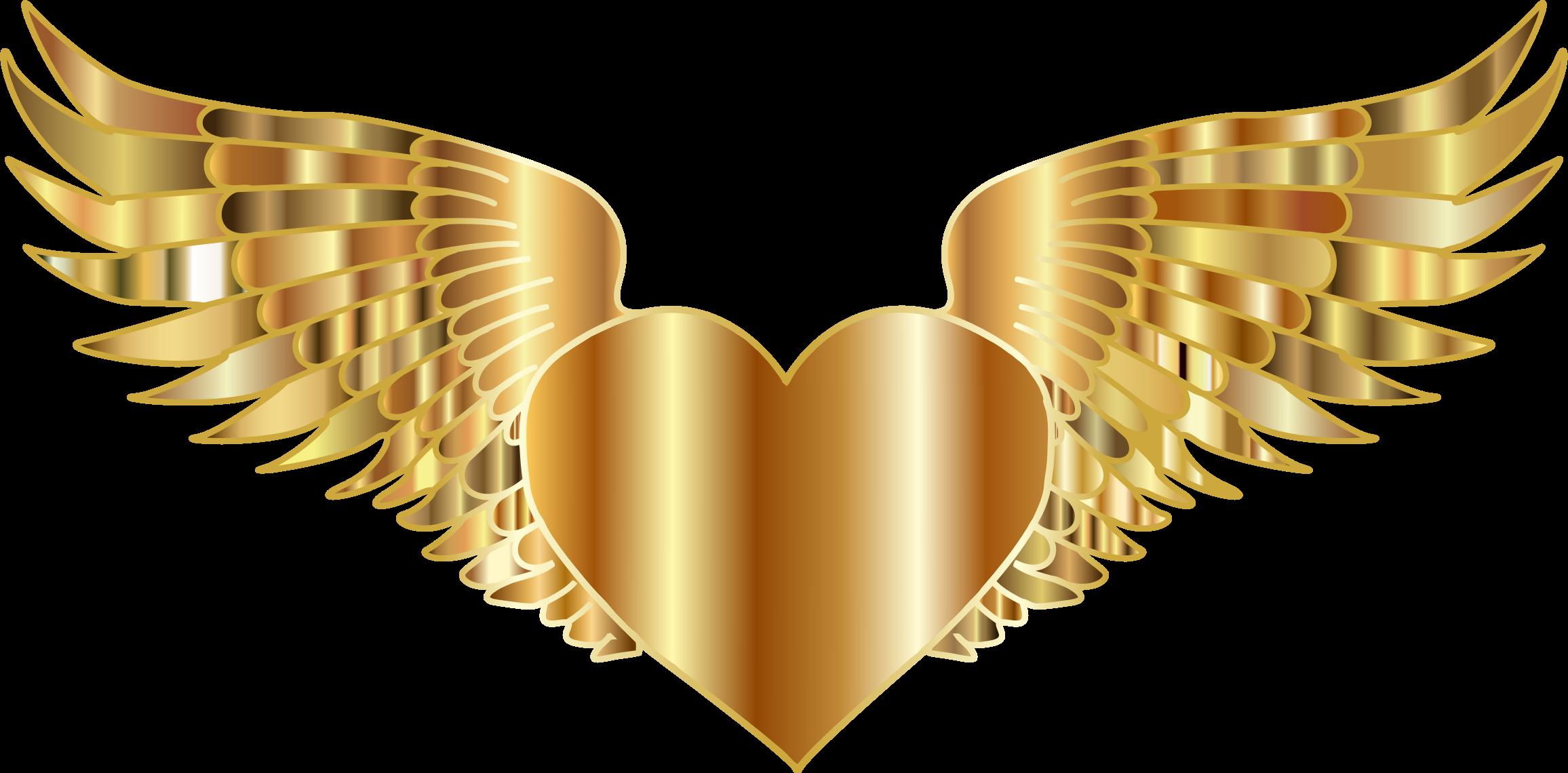 Gold heart clipart svg transparent Clipart - Golden Flying Heart svg transparent