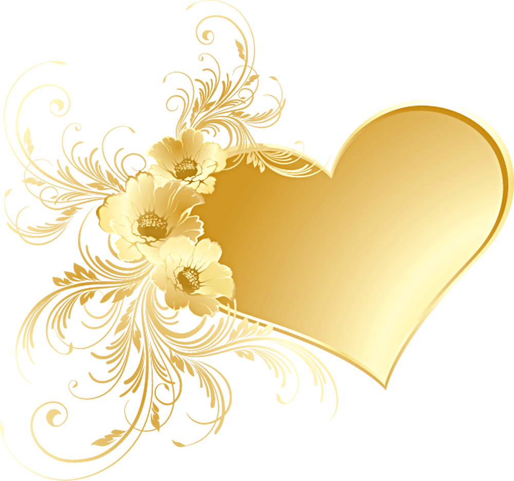 Flower banner clipart. Gold heart with flowers