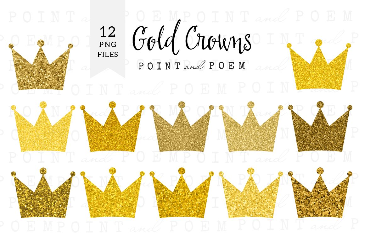 Clipart gold market picture royalty free Gold Glitter Crown Clipart by Point and Poem on Creative Market ... picture royalty free