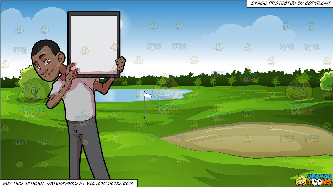 Clipart golf green svg transparent A Black Guy Holding A Signboard and Green Golf Course Background svg transparent