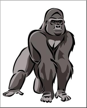 Clipart gorilla clip transparent library Clip Art: Gorilla 2 Color 1 I abcteach.com   abcteach clip transparent library