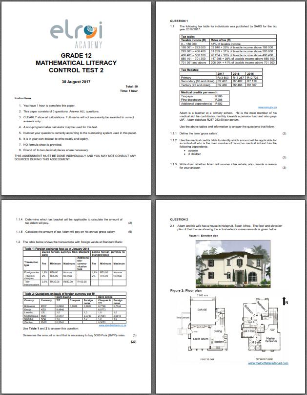 Clipart grade 10 exam papers 2016 vector transparent stock PDF: GRADE 12 MATHEMATICAL LITERACY TERM 3 CONTROL TEST 3 – 2017 ... vector transparent stock