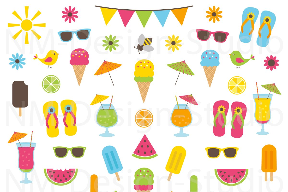 Clipart graphics format png freeuse download Summer Clipart Set - Vector Graphics png freeuse download