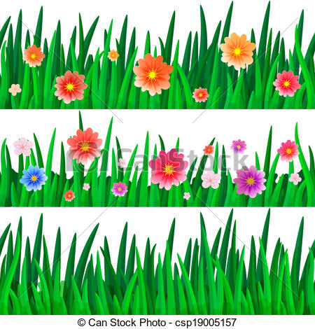 Clipart grass and flowers vector transparent library Vector Clip Art of Bunch Of Flowers With Grass And Ladybug, Vector ... vector transparent library